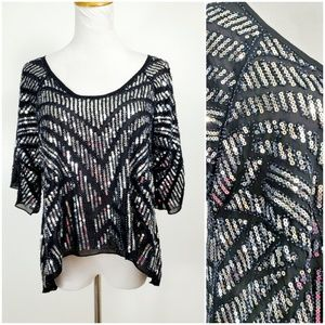 Nasty Gal 8 Disco Top Blouse Sequins Beaded Gypsy